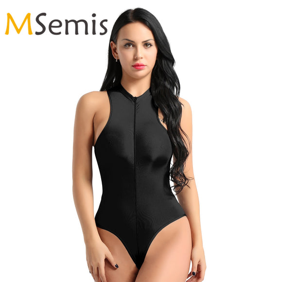 Women's Swimsuit See Through Lingerie High Cut Sheer Swimwear Zippered Thong Leotard Sheer Bodysuit Transparents Swimming Suit