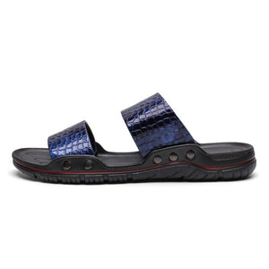 YEINSHAARS New Designer Leather Summer Men Slides Rubber Slippers Mens Flip Flop Sandals Beach Shoes Man Chanclas De Hombres
