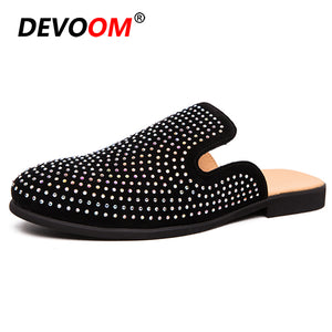 Summer Leather Slippers Men Shoes PU Loafers Designer Mules Fashion Beach Shoes Slides Home Slippers Zapatos Hombre Plus Size 44
