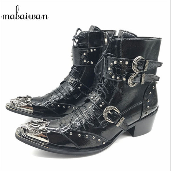 Mabaiwan Punk Style Leather Men Shoes Military Cowboy Ankle Boots High Rubber Boots Metal Pointed Toe Lace Up Buckle Shoes Men