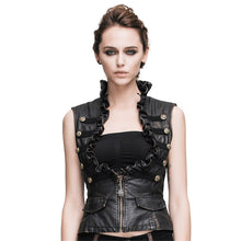 Load image into Gallery viewer, Punk Women's Leather Vests Gothic Slim Fit Brush Color Thoracotomy Waistcoat Victorian Sleeveless Vest