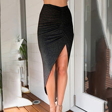Load image into Gallery viewer, 2018 New Sexy Women's Side High Split Slim Irregular Skirts Shirring Design Pleated Ladies Skinny Slit Maxi Long Pencil Skirt