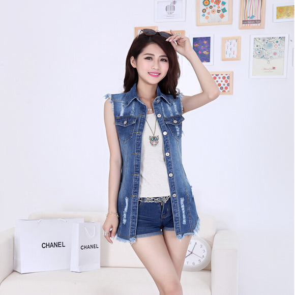New arrival summer short jacket elegant all-match turn-down collar sleeveless denim vest tops female