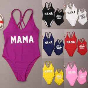 New Mother and Girls One Piece Swimsuit Sweet Mom Daughter Swimwear Swimsuit Bathing suit Monokini Swimming Suit For Family