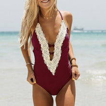 Load image into Gallery viewer, 2019 One Piece Swimsuit Sexy Swimwear Women Bathing Suit Vintage Summer Bikini Set Beach Wear Push Up Bandage Monokini Swimsuit