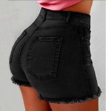 Load image into Gallery viewer, Women Sexy high waist Ripped Jeans Shorts Summer Booty Shorts Mini denim shorts Ladies Casual Jeans Black Vintage short pants