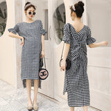 Summer New Design Maternity Dress Retro Backless Plaid