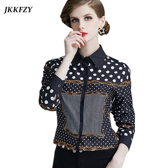 Women Long Sleeve Polka Dot Print Blouse 2019 Fashion Design Elegant Shirt Turn Down Collar Plus Size Runway Tops