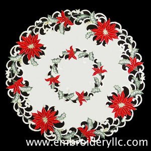 Red Poinsettia Cream Fabric