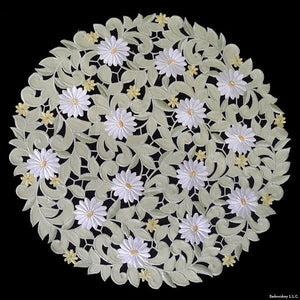 G White Daisy Green Fabric