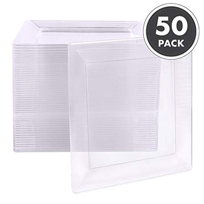 50 Plastic Square Plates - 4 Inch Clear Disposable Plates for Dessert, Salad or Appetizer, Bulk Set