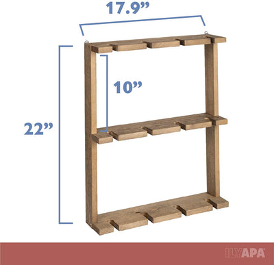 Wine Glass Rack, Wall Mounted - 3 Tier Rustic Barn Wood Stemware Storage Holder