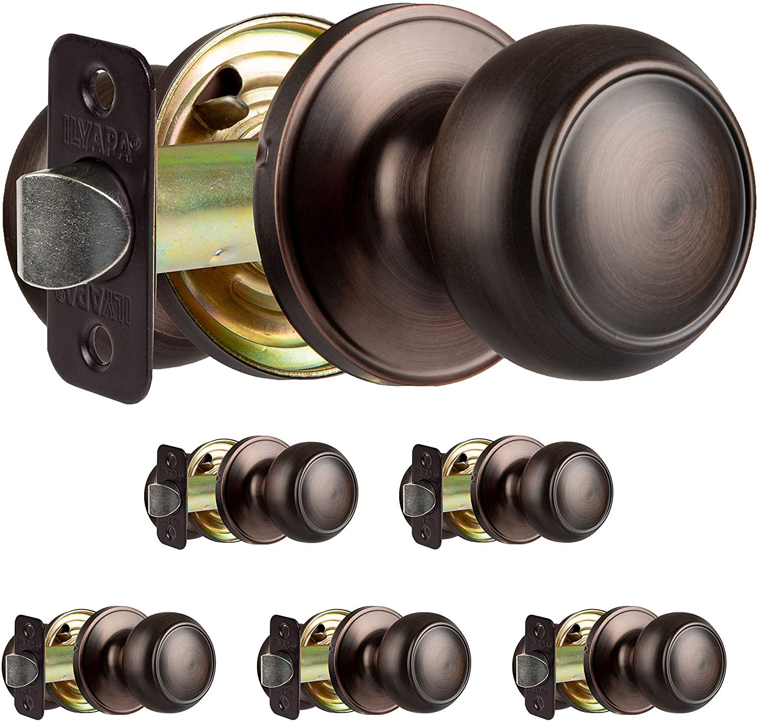 Interior Passage Door Knob - Keyless Hall and Closet Locksets - Hall and Closet - Improved Oil Rubbed Bronze Finish - (6 Pack)