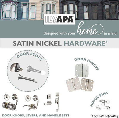 "6 Pack Hinge Pin Satin Nickel Door Stops -Heavy Duty Adjustable Door Stopper 2-1/2"" x 1-3/4"",with White Rubber Bumper Tips"