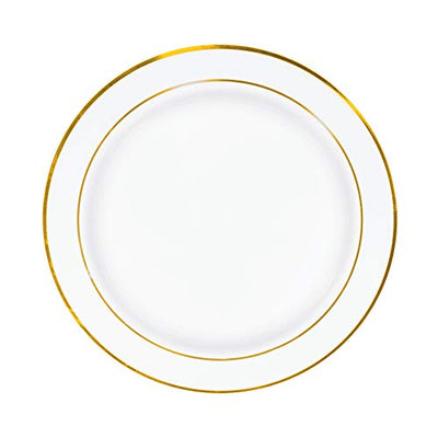 50 Gold Rim Plastic Plates Set, 7 Inch - Bulk White, Gold Rimmed Salad Disposable Plates for Wedding or Party