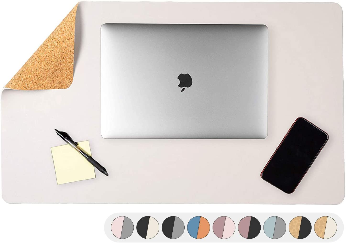 Office Desk Mat, Double Sided Eggshell & Cork - 36 x 17 Inch Leather Style Computer Pad for Desk