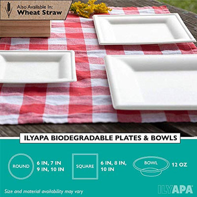 50 Biodegradable Disposable Square Dinner Plates - 10 Inch White Compostable & Microwavable Tree Free Sugarcane Plates, Bulk Set