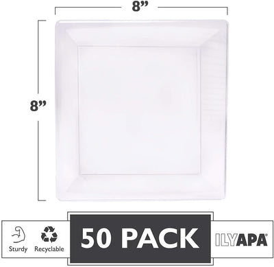 50 Plastic Square Plates - 8 Inch Clear Disposable Plates for Dessert, Salad or Appetizer, Bulk Set