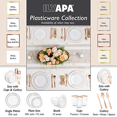 Ilyapa 60 Silver Rim Plastic Plates Set - Bulk White Silver Rimmed Dinner & Salad Disposable Plates for Wedding or Party
