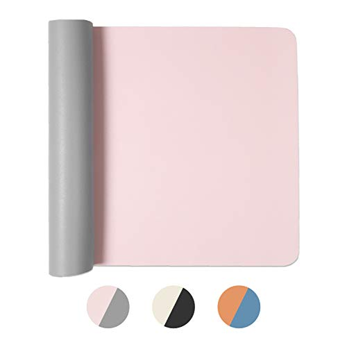 Office Desk Mat, Double Sided Pink & Gray - 36 x 17 Inch Leather Style Computer Pad for Desk