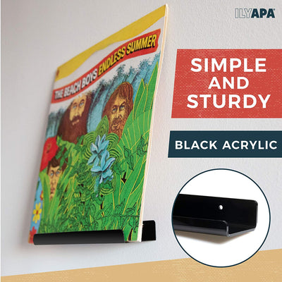 Vinyl Record Display Wall Mount, 6 Pack - Black Acrylic Record Holder Shelf