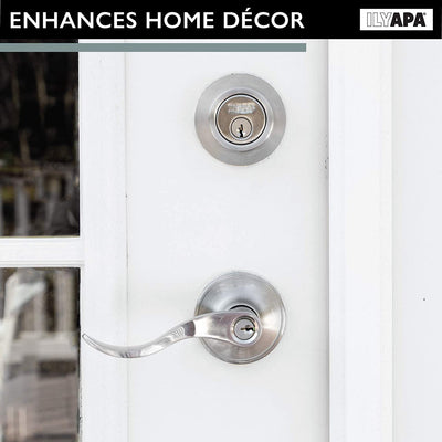 Entry Lever Door Handle with Single Cylinder Deadbolt Combo Set - Reversible for Left or Right Side, Classic Design, Satin Nickel Finish - (3 Pack)