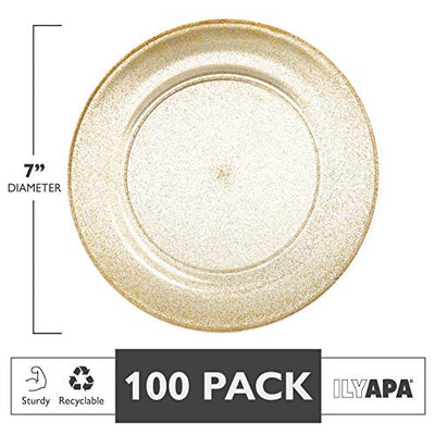 100 Gold Glitter Plastic Plates for Dinner Party or Wedding - 7 Inch Premium Disposable Plastics Plates