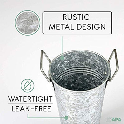 Galvanized Metal Vase 3 Pack - 9 Inch Tall Rustic Farmhouse Bucket Planter Pots for Decor