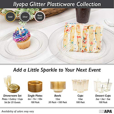 Glitter Plastic Plates for Dinner Party or Wedding - Premium Disposable Plastics Plates