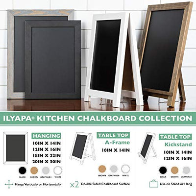 Ilyapa Rustic Wooden Magnetic Tabletop Chalkboard Sign - 10x14 Wood A-Frame Standing Sandwich Board Menu Display - White