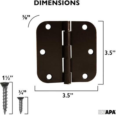 18 Pack of Door Hinges Oil Rubbed Bronze - 3.5 x 3.5 Inch Interior Hinges for Doors with 5/8 Inch Radius Corners