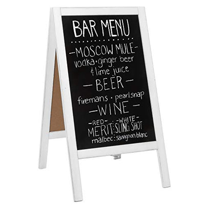 Wooden A-Frame Sign with Eraser & Chalk - 40 x 20 Inches Magnetic Sidewalk Chalkboard - Sturdy Freestanding White Sandwich Board Menu Display for Restaurant, Business Or Wedding