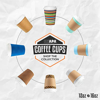 12 oz To Go Coffee Cups with Lids - 100 Disposable, Insulated & Recyclable Blue Ripple Paper Coffee Cups