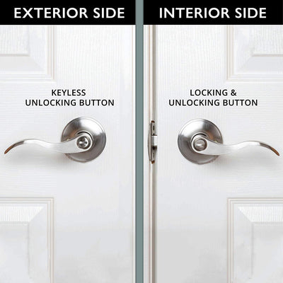 Interior Privacy Door Lever - Keyless Locking Reversible Door Handles for Bedroom or Bathroom - Satin Nickel Finish
