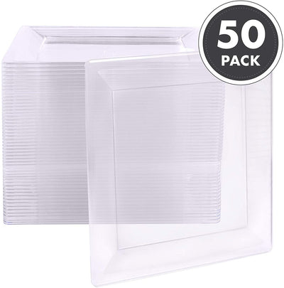 100 Plastic Square Plates - 4 Inch Clear Disposable Plates for Dessert, Salad or Appetizer, Bulk Set