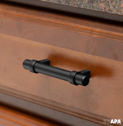 Black Kitchen Cabinet Handles - 3.75 Inch Hole Center Bar Pulls - 10 Pack of Kitchen Cabinet Knob Hardware