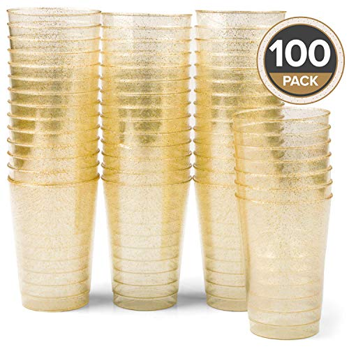 100 Gold Glitter Plastic Cups - 12oz Disposable Cup Set for Wedding or Party