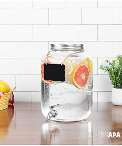 Outdoor Glass Beverage Dispenser with Stainless Steel Spigot - 2 Gallon Drink Dispenser for Lemonade, Tea, Cold Water & More