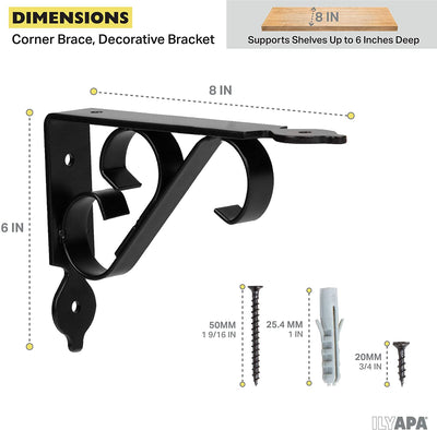 Heavy Duty Floating Shelf Brackets, 4 Pack - 6x8 Inch Decorative Metal Shelf Holders for Wall Mount Shelves