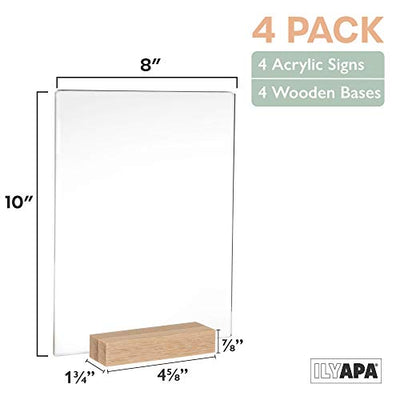 Acrylic Sign Holders with Natural Wood Stands, 4 Pack - 8x10 Inch Blank Table Numbers Set for Wedding