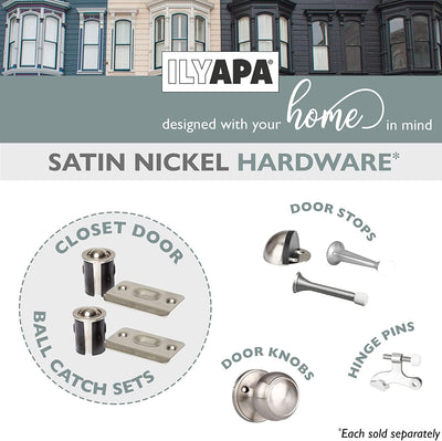 Closet Door Ball Catch Hardware, 4 Pack - Satin Nickel Drive-in Ball Catch with Strike Plate