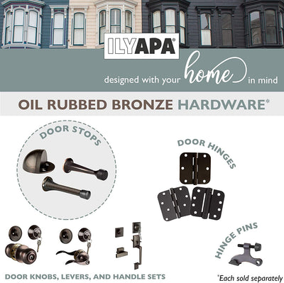 "6 Pack Hinge Pin Oil Rubbed Bronze Door Stops -Heavy Duty Adjustable Door Stopper 2-1/2"" x 1-3/4"",with Black Rubber Bumper Tips"