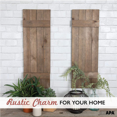 Ilyapa Wood Shutters Wall Decor - Farmhouse Style Barn Door Shutters for Interior or Exterior Wall Art
