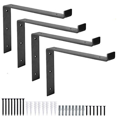 Heavy Duty Steel Floating Shelf Brackets, Undermount Bracket With Lip- Farmhouse Rustic Iron Matte Finish - 4 Pack of 8 x 11.25 Inch Industrial Metal Shelf Holders, Joint Angle Brackets for Wall Shelv