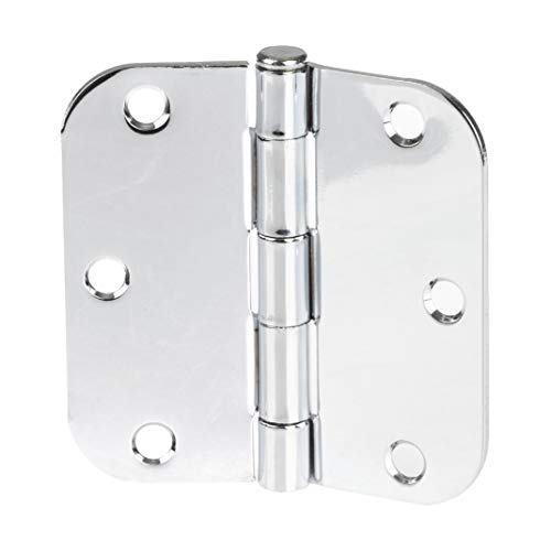 "18 Pack of Door Hinges Chrome - 3 1/2 x 3 1/2 Inch Interior Hinges for Doors with 5/8"" Radius Corners"