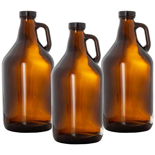 Glass Growlers for Beer, 3 Pack - 64 oz Growler Set with Lids - Great for Home Brewing, Kombucha & More