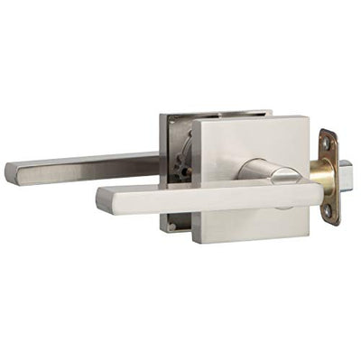 Ilyapa Passage Door Lever for Hall/Closet - Modern, Satin Nickel Reversible Interior Keyless Non Locking Door Leverset, Satin Nickel