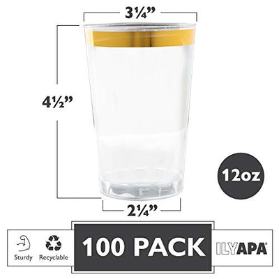 100 Gold Rimmed Plastic Cups, 12 oz - Clear with Gold Rim Disposable Cup Set for Wedding or Party
