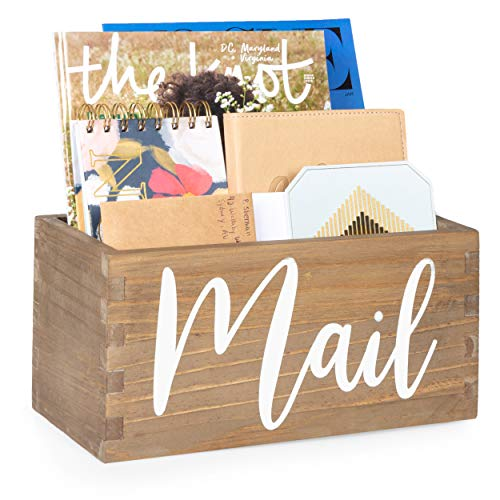 Ilyapa Barnwood Mail Holder for Countertop - Wood Mail Storage Basket for Entryway Table Decor