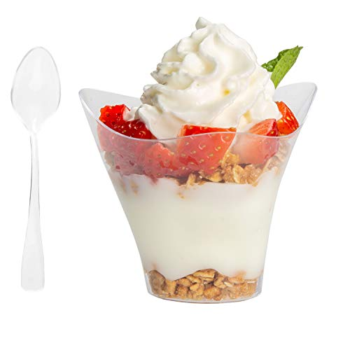 100 Plastic Dessert Cups with Spoons - Mini 3.5 oz Parfait Cups for Chocolate Desserts, Appetizers, Samplers & More